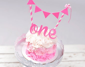 One Cake Topper Set, Pink One cake topper set, ONE Cake Topper, Pink Cake Topper