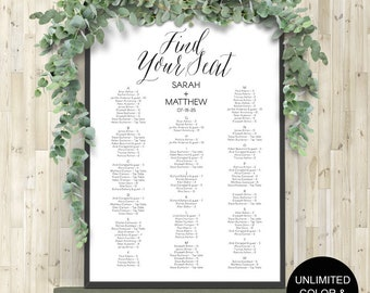Seating chart, wedding templates, wedding seating chart, poster, seating assignment, printable, seating chart alphabetical, DIYS14