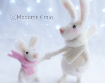 Needle Felted Animal , Rabbits, Mother and Child,  miniature animal , Home decor ,  Waldorf , Christmas