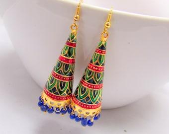 Long Jhumka Handcrafted Meenakari Earrings