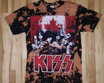 Bleach dyed and distressed rock band shirt size Large, distressed t shirt, bleach dye shirt, distressed shirt, rock shirt, concert, band