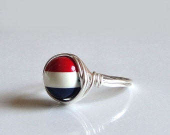 Handmade Red, White, and Blue Bead Ring - Bright Patriotic Colors - Vintage Striped Bead Wire-Wrapped with Bright Silver Wire - Custom Size