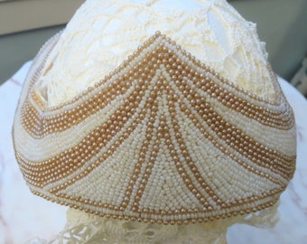 Beaded Bridal Headpiece, Antique, Ivory and Ecru.  Attach your own Veil