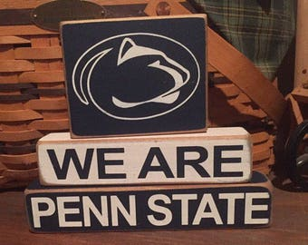 Penn State, We are Penn State wood blocks, We are, Happy Valley, Nittany Lion, State College, PSU, Penn State Decor