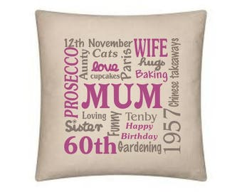 Typography cushion - birthdays, new baby, Anniversaries