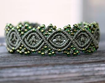Micro-Macrame Beaded Cuff Bracelet - Dark Olive