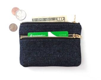 Denim Coin Purse Wallet Double Zipper Pouch