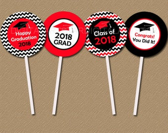 Graduation Printables, Graduation Cupcake Topper, Cupcake Picks, High School Graduation, Graduation 2018, Red and Black Graduation Topper G3