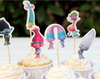 Trolls cake toppers, Trolls birthday supplies, Trolls cupcake toppers - 24 pcs