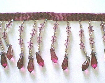 Light Purple Beaded Fringe - 2 1/2 Inches Long Fringe Trim - Sold by the Yard