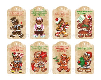 INSTANT DOWNLOAD, 3.5 x 2 Inches Gingerbread Gift Tags, Collage Sheet, Printable