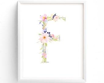 MULTI SIZES Letter F, Printable Letter, Nursery Wall Art, Nursery Prints, Nursery Art, Letters, Monogram Floral Letter