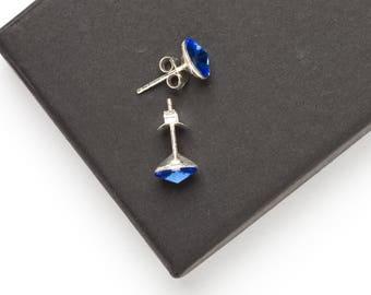 Swarovski Stud Earrings | Sterling Silver Stud Earrings | Blue Swarovski Earrings | Sterling Silver Jewellery