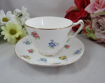 Vintage Mid Century English Bone China Teacup Crown Staffordshire Floral Rose Pansy English Teacup and Saucer set Tea Cup