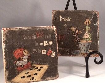 Alice in Wonderland Coaster Set ( Set includes 4 Tiles )