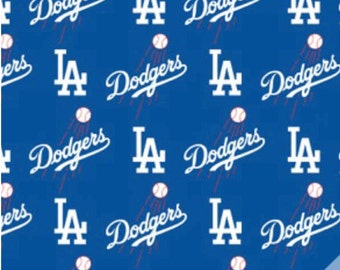 """MLB Los Angeles Dodgers All Over Print Fabric 60"""" wide Major League Baseball"""