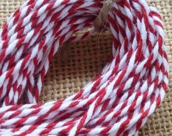 10m Red and white bakers twine, Cotton striped String, Christmas wrapping