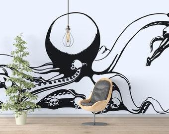 The Sea Monster - Wall decals for home decor and improvement, Interior Design, Stickers, Tattoo, Octopus, Kraken, Horror, Skull, Hafgufa