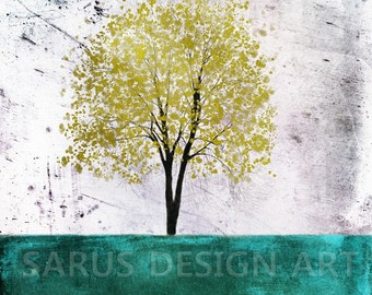 Color Tree Series -- Peacock Green --  giclee print, art, tree art,print,gift,art collectibles,wall art,wall decor,wall decor