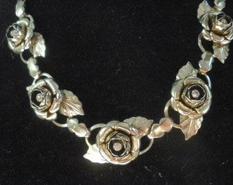 Pretty Vintage Choker, Five Roses With Rhinestone Centers