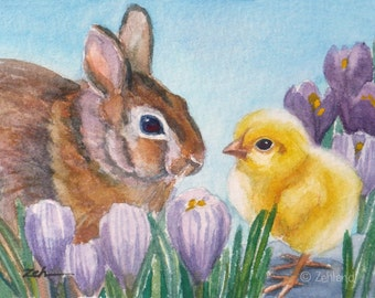 Animal Art Print 8x10 Baby Bunny Chick Nursery Decor by Janet Zeh