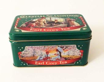 "Vintage LARGE CELESTIAL SEASONINGS "" Earl Grey Tea Tin / 6"" x 4"" x 3"" /  1990's Collectible Tin / U.S. A made / Christmas Gift"
