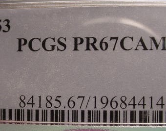 Jefferson Nickel 1953  P.C.G.S Proof 67 Cameo Very Scarce< SH includes Insurance><>ETB5729