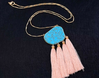 Tassel necklace, Turquoise necklace, Long necklace, Statement necklace - Toya