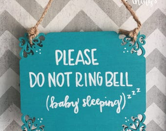 Baby Sleeping Door Sign - Please Do Not Ring Bell - Naptime Door Sign - Wood Sign - Door Sign - Hand Painted - 5 x 5.75 inches - RTS