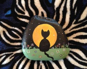 Black Cat against the Harvest Moon Hand Painted River Rock