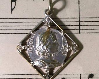 Antique French Art Nouveau Joan of Arc Religious Medal Fleur de Lys c1909