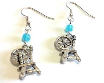 Spinning Wheel Earrings, Blue Beaded Dangle Earrings, Stainless Steel Jewelry, Fun Bead Jewelry, Handmade Gift for Her