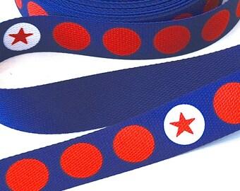 Webbing 3 cm stars n dots Navy