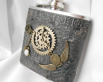 Flask steampunk stainless steel customized Pocket flask, liquor flask, liquor flask, flask for men and women, gears