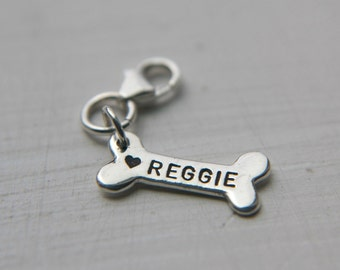 Sterling Silver Dog Bone Charm, Personalized - Custom - Customized -  Pet Name Jewelry, Dog Lovers Gift, Dog Name for Charm Bracelet