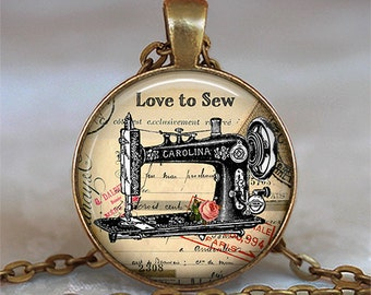 Love to Sew necklace, Seamstress necklace antique sewing machine pendant seamstress gift dressmaker key chain key ring key fob