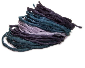 Hand dyed silk cord - set of 5 - STONE - silk strings