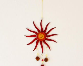 Decorative Sun with drops | Suncatcher Yellow-Red