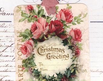 Christmas Tags, Pink Christmas Gift Tags ,  Shabby Style , Pink Christmas Roses , Bluebird Lane