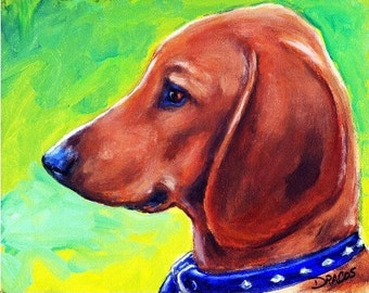 Dachshund,  Dog Art Print of Original Painting by Dottie Dracos, Red Doxie Puppy Profile, Dachshund art, Red dachshund
