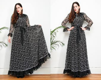 Vintage Floral Gothic Lace Frill Victorian Black Maxi Grunge Dress 70's