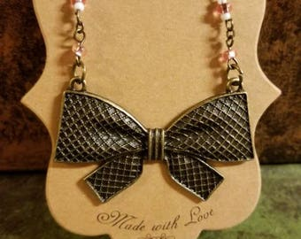 Custom Sweetheart Bow Linked Necklace Bronze Color