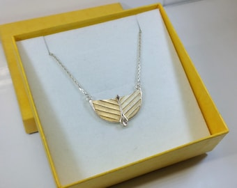 Necklace necklace Silver 925 pendant partly gold plated Crystal stone vintage SK251