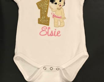 Embroidered Personalized Baby Moana Birthday Shirt Handmade 1st to 6th Gerber® ONESIE®