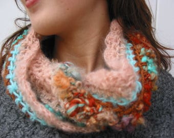 """Snood in fancy """"nude, amber and turquoise"""" and hand spun wool"""