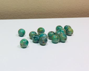 15 Shades of Green Picasso Czech Smooth Rounds, 8mm, Smooth, Round Beads, Shades of Green, Czech, Picasso, Bead Supply, Jewelry Making,