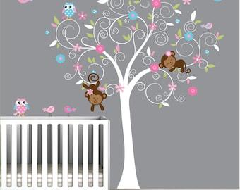 Children Vinyl Wall Decal-Nursery Tree Decals with Owl Flowers Birds-e74