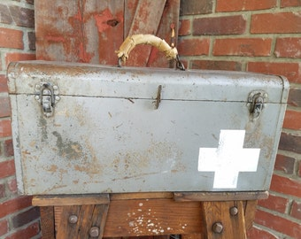 Large Rusty Metal Gray Tool Box with Red Cross Symbol, gray rustic box, red cross symbol, industrial tool box, red cross decor