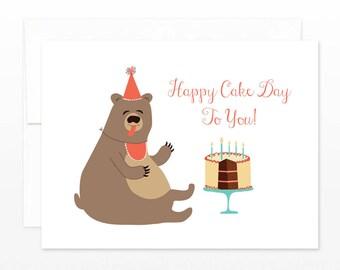 Funny Cake Bear Birthday Card - Happy Cake Day to you! - Cute Bear Birthday Card - Cake Birthday Card, Funny Birthday Greetings, for Friend