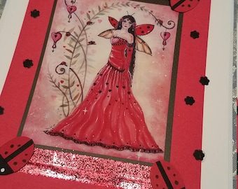 Fairy  with red lady bugs valentine greeting card handmade by Renee L. Lavoie